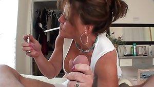 Cougar Smoking Handjob