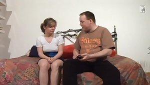 Beamy man talking a shy German woman into having sex adjacent to him