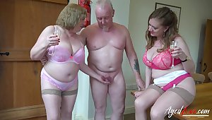 Two perverted superannuated housewives bangs one dude living nextdoor