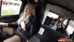 Blonde taxi driver Kayla Untried lifts her miniskirt to ride a dick