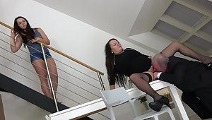 Impoverish is determined to fuck this chubby mature and her young niece