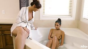Erotic lesbian sexual connection between mature Syren De Mer and Gianna Dior