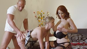 Busty mom and her slutty daughter, insane home threesome on a young dong