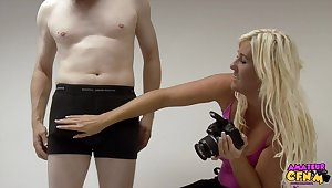 Girth dude involving a stiff dick gets pleasured by photographer Donna Mills