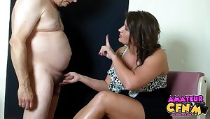 Chubby mature dude gets his dick pleasured at the end of one's tether MILF Lori G. HD