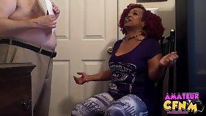 Chubby white dude gets his dick pleasured by freakish ebony Kandee