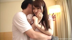 Quickie fucking on the sofa just about natural tits Hibino Satomi