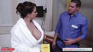 Dangerously seductive housewife Eva Notty fucks a plumber in walk out