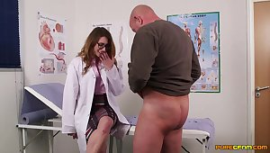 Sissified nurses share cock in the most intimate CFNM trine
