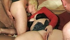 Dirty British slut Chloe sucks two cocks and gets fucked to one's liking