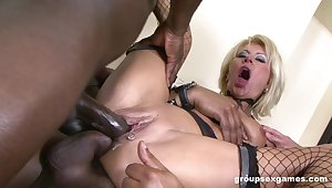 Dirty blonde mature Kathy Kongo gets fucked by lot of black dudes