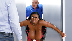 Get on huge-chested black screwed stiff by custodian